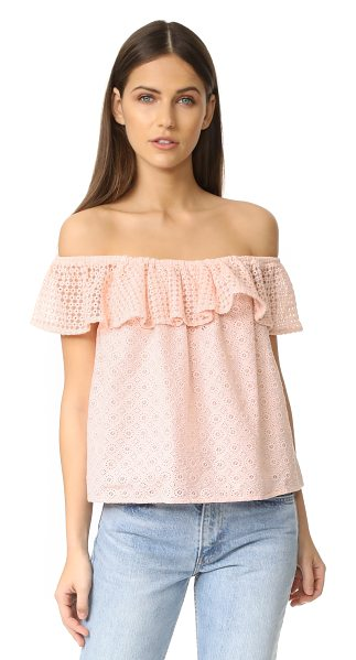 Rebecca Minkoff celestine top in pink sand - An embroidered mesh flounce accents the off-shoulder...