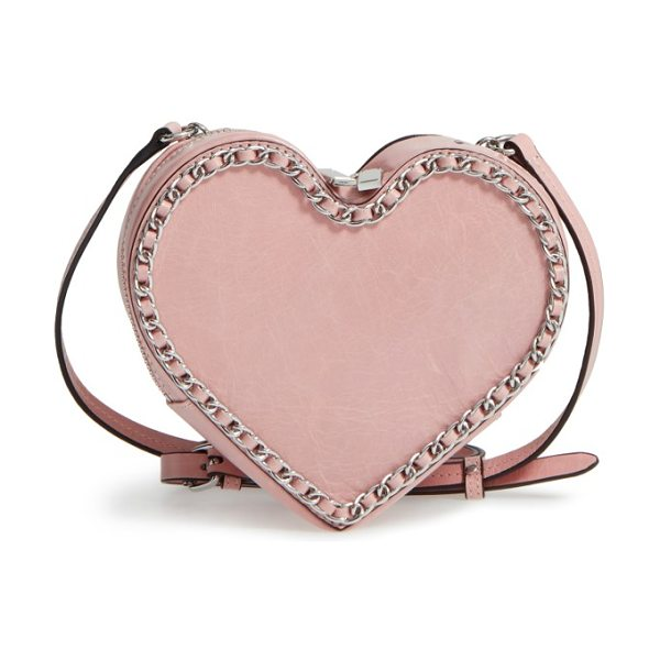 Rebecca Minkoff chain heart crossbody bag in lilac rose/ silver