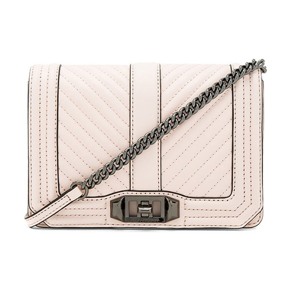 REBECCA MINKOFF Chevron Quilt Small Love Bag - Leather exterior with jacquard fabric lining. Flap top...