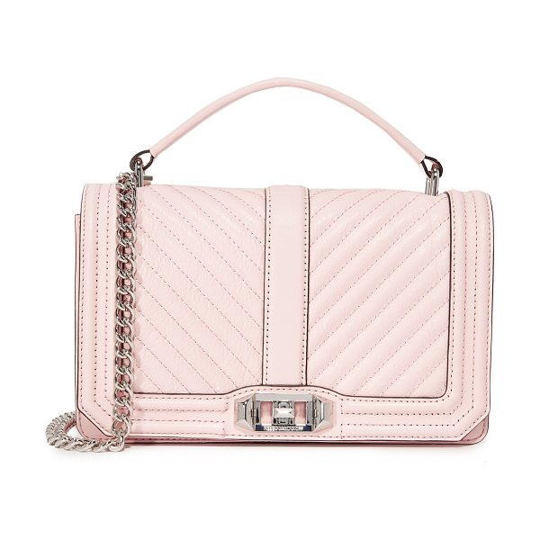 Rebecca Minkoff chevron quilted cross body bag in soft blush - A structured Rebecca Minkoff cross-body bag styled in...
