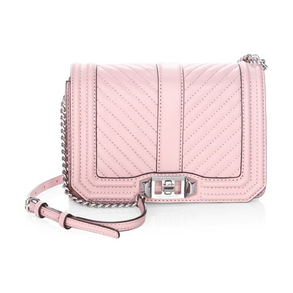 REBECCA MINKOFF chevron quilted leather crossbody bag in vintage pink - Polished buckle detailed with small logo lettering....