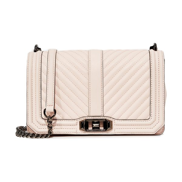 Rebecca Minkoff chevron quilted love cross body bag in soft blush - A structured Rebecca Minkoff cross-body bag styled in...