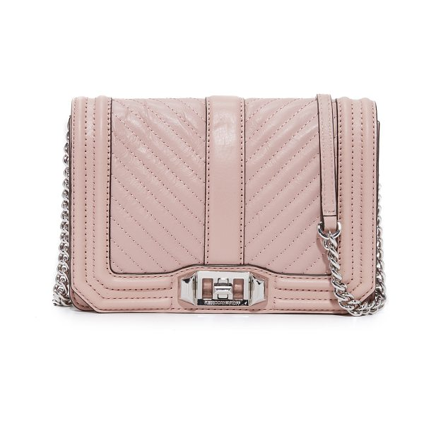 Rebecca Minkoff chevron quilted small love cross body bag in vintage pink - This petite Rebecca Minkoff cross-body bag is detailed...