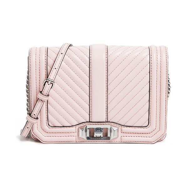 Rebecca Minkoff chevron quilted small love cross body bag in blossom - Leather: Cowhide Quilted exterior Turn-lock closure at...