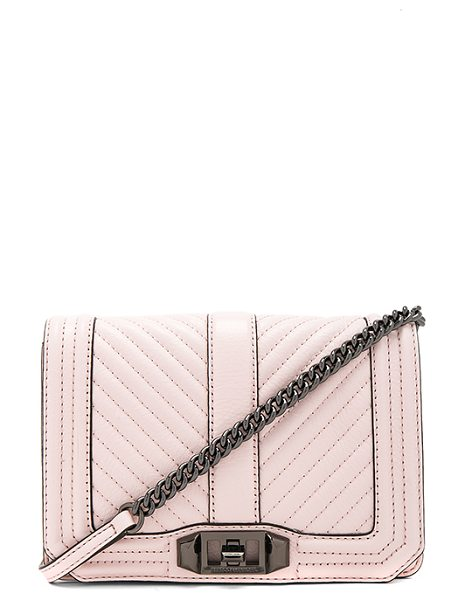 Rebecca Minkoff Chevron Quilted Small Love Crossbody Bag in soft blush - Leather exterior with jacquard fabric lining. Flap top...