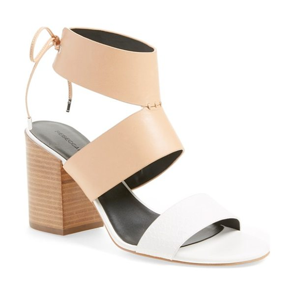 Rebecca Minkoff christy ankle cuff sandal in nude/ white snake leather - A retro-chic, two-tone sandal makes plenty of impact...