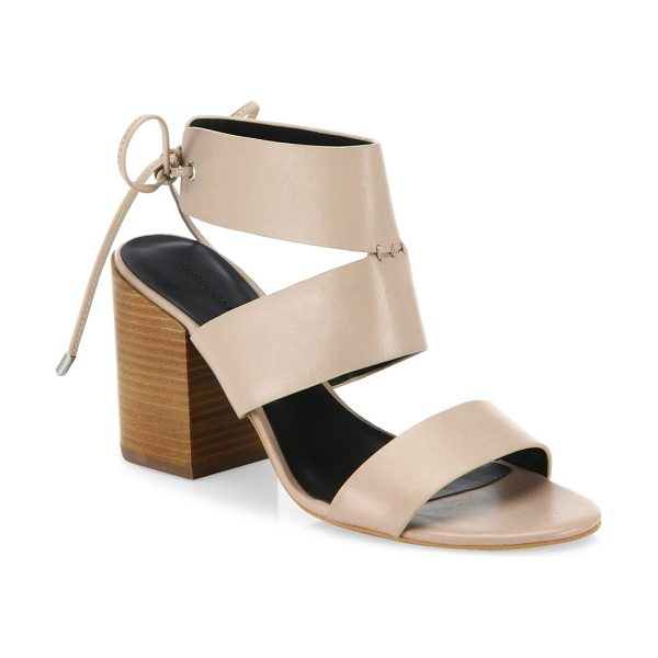 Rebecca Minkoff christy leather block heel sandals in nude