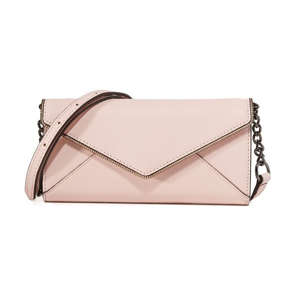 Rebecca Minkoff Cleo wallet on a chain in pale blush - This leather Rebecca Minkoff envelope wallet features...