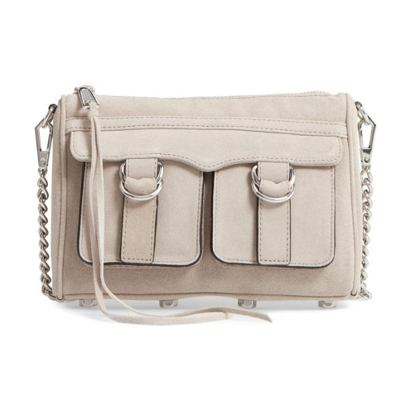 Rebecca Minkoff cliffside nubuck crossbody bag in sandstone/ silver - Strap-down exterior pockets and another set of flap...