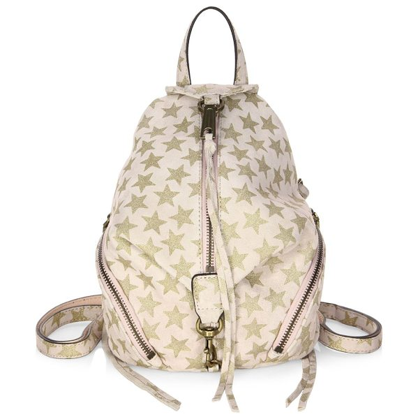 Rebecca Minkoff convertible mini julian suede backpack in nude - Suede backpack with an allover glittered star print. Top...