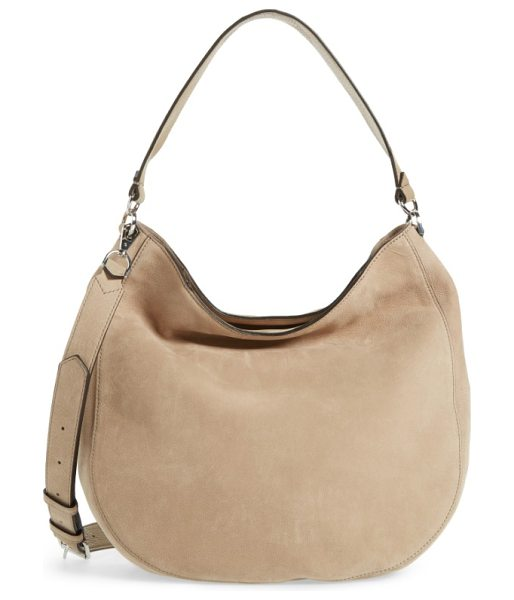 Rebecca Minkoff convertible nubuck hobo with embroidered strap in sandstone/ silver hardware