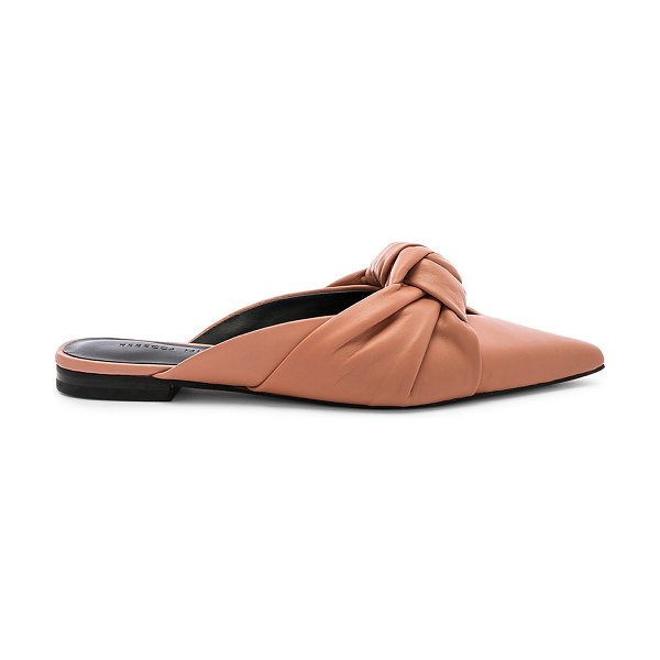 Rebecca Minkoff Coretta Flat in tan - Leather upper with man made sole. Slip-on styling. Knot...