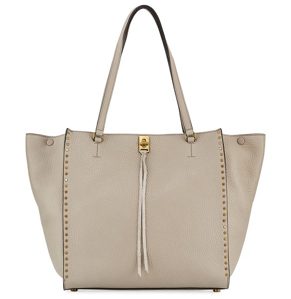 Rebecca Minkoff Darren Pebbled Studded Tote Bag in taupe - Rebecca Minkoff pebbled leather tote bag with golden...