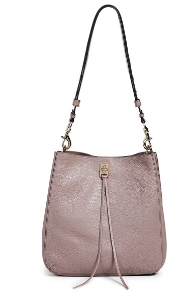 Rebecca Minkoff darren shoulder bag in mink - Leather: Cowhide Pebbled leather Metal studs Hinged post...