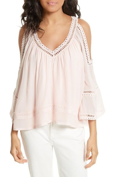 Rebecca Minkoff deneuve crochet blouse in pink sand - A romantic take on free-spirited bohemian style, this...