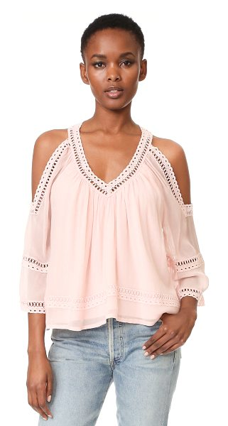 Rebecca Minkoff deneuve top in pink sand - Tonal lace trim at the edges adds charm to this...