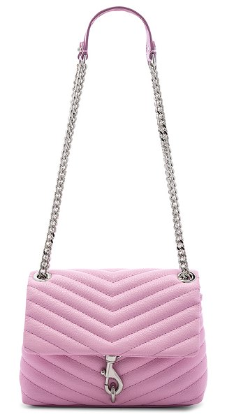 """Rebecca Minkoff Edie Crossbody in pink - """"Quilted leather exterior with poly fabric lining. Flap..."""