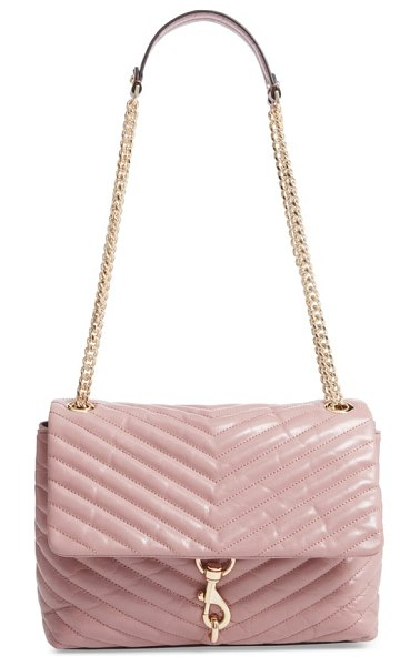 Rebecca Minkoff edie flap front leather shoulder bag in mink - Chevron quilting highlights the richly pebbled leather...
