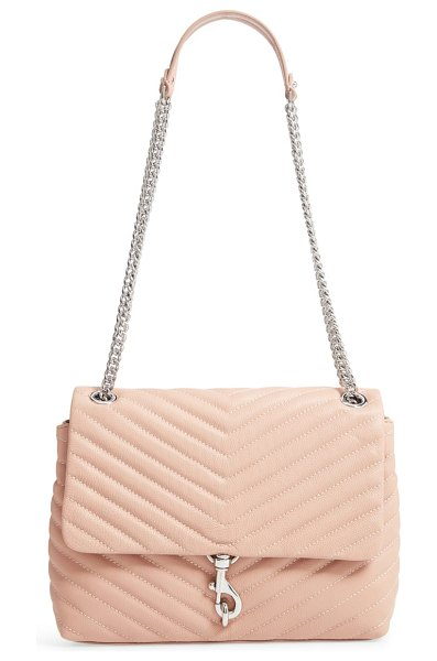 Rebecca Minkoff edie flap quilted leather shoulder bag in beige - Chevron quilting highlights the richly grained leather...