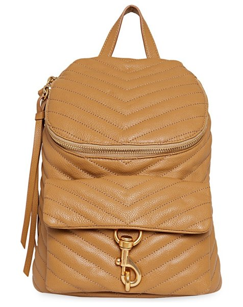 Rebecca Minkoff edie quilted leather backpack in tan