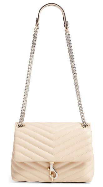 Rebecca Minkoff edie quilted leather crossbody bag in beige