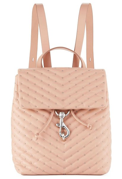 Rebecca Minkoff Edie Quilted Leather Flap Backpack in beige