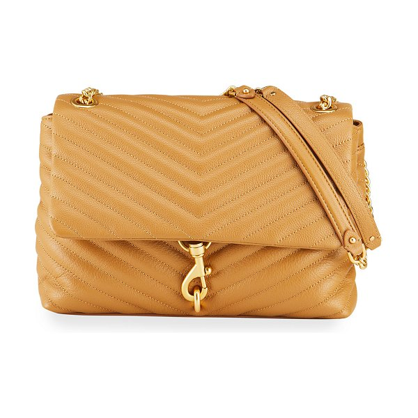 Rebecca Minkoff Edie Quilted Leather Flap Shoulder Bag in tan