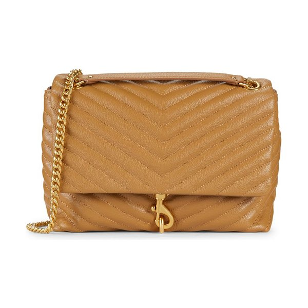Rebecca Minkoff edie quilted leather shoulder bag in tan