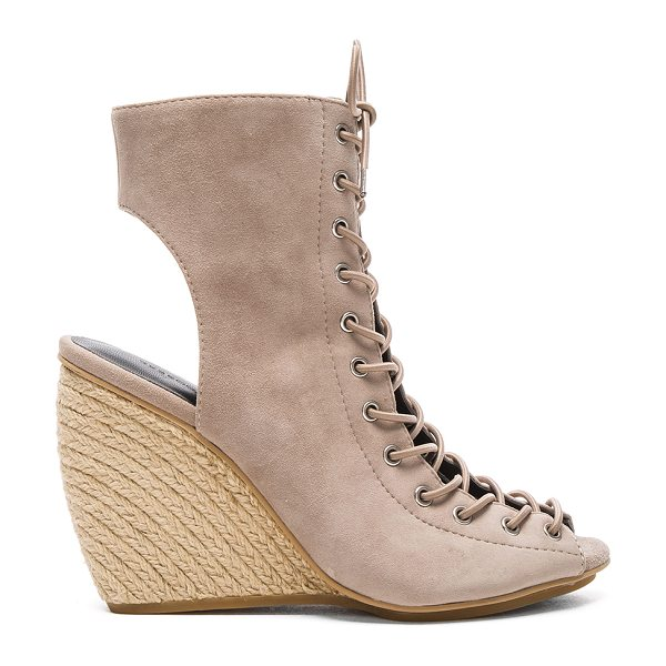 Rebecca Minkoff Elle Heel in taupe - Suede upper with rubber sole. Lace-up front with tie...