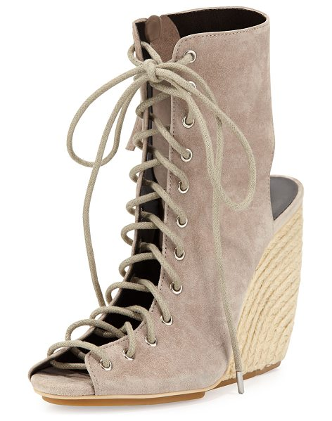 "REBECCA MINKOFF Elle Suede Lace-Up Wedge Sandal - Rebecca Minkoff kid suede sandal. 4"" braided-jute wedge..."
