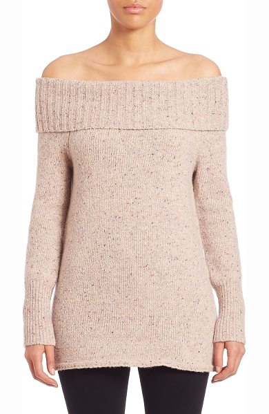 REBECCA MINKOFF erid off-the-shoulder merino wool blend sweater - Cozy merino wool blend sweater with folded neckline....