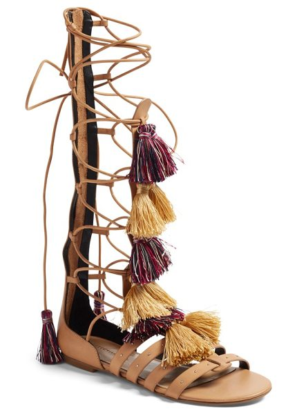 Rebecca Minkoff eve gladiator sandal in natural vachetta - Soft colorful tassels and small dome studs heighten the...