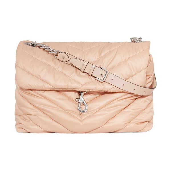 Rebecca Minkoff extra large edie chevron-quilted nylon shoulder bag in beige