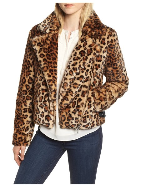 Rebecca Minkoff faux fur moto jacket in leopard multi - Whether you were born to be wild or just want to look...