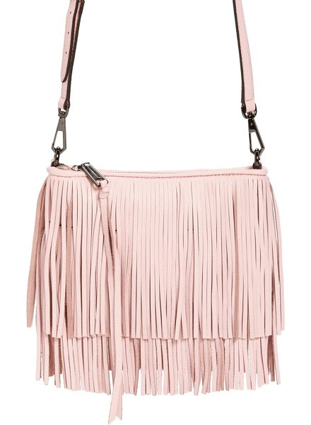 REBECCA MINKOFF Finn convertible leather clutch in pale blush/ gunmetal hrdwr - Tiered fringe amps up the street-chic attitude of a...