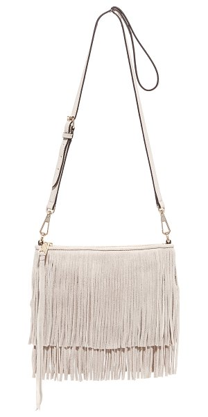 Rebecca Minkoff Rebecca Minkoff Finn Cross Body Bag in khaki - This soft suede Rebecca Minkoff clutch has tiered fringe...