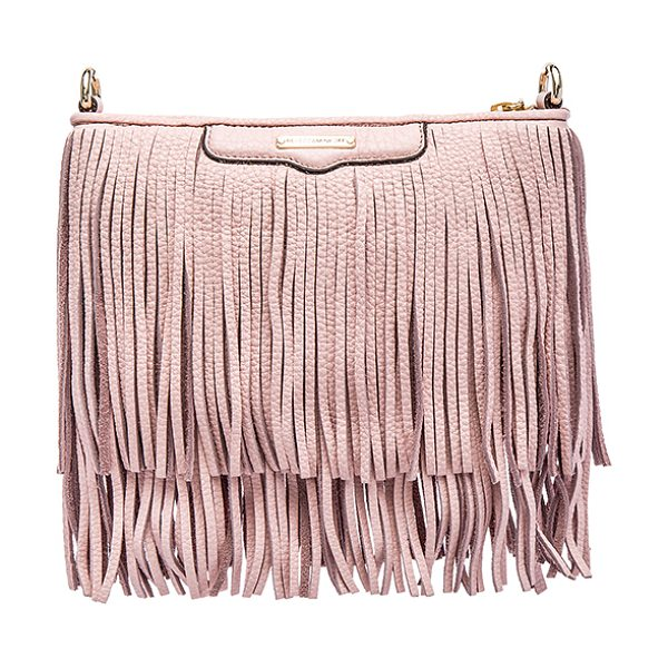 Rebecca Minkoff Finn crossbody in pink - Leather exterior with jacquard fabric lining. Detachable...
