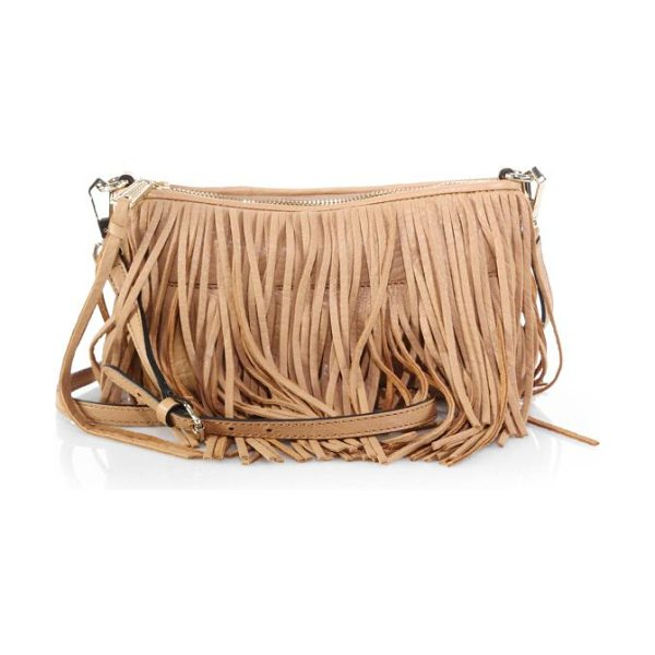 Rebecca Minkoff Finn fringed convertible crossbody bag in tan - Adorned with cascading fringe and equipped with an...