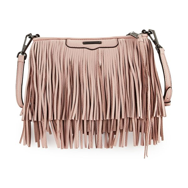 REBECCA MINKOFF Finn Leather Fringe Crossbody Bag - Rebecca Minkoff pebbled calf leather crossbody bag with...