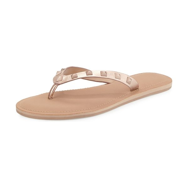 Rebecca Minkoff Fiona studded thong sandal in rose gold - Rebecca Minkoff metallic leather sandal. Tonal pyramid...