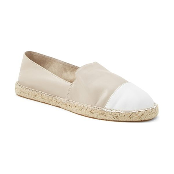 Rebecca Minkoff gavin cap toe leather espadrille in elephant/ white - A crisp cap toe and loafer-inspired silhouette polish...