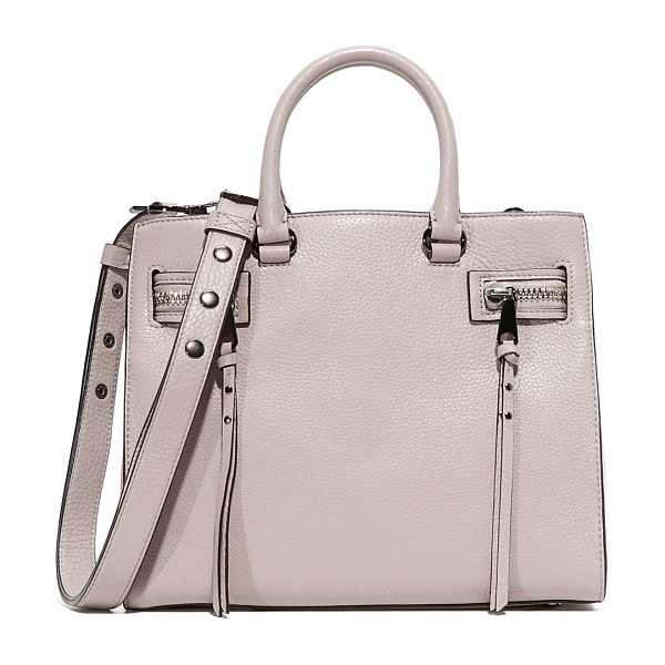 REBECCA MINKOFF Geneva satchel in putty - Decorative zips with long pulls detail the sides of this...