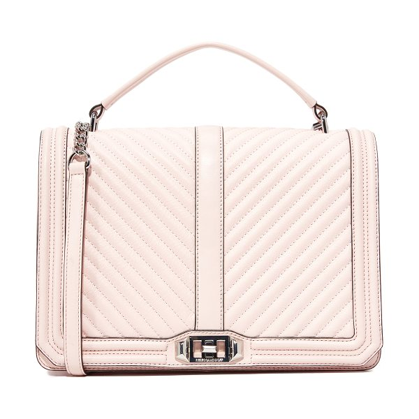 Rebecca Minkoff geo quilt jumbo love bag in soft blush - Geometric quilting details the front flap of this large...