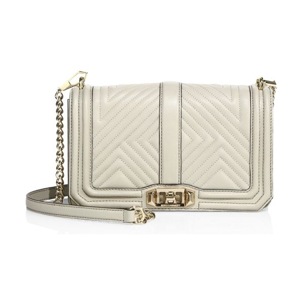 Rebecca Minkoff Love quilted leather crossbody bag in khaki - Convertible crossbody with luxe geo-quilted design....