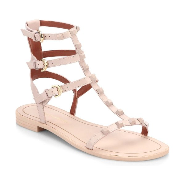 Rebecca Minkoff georgina studded leather gladiator sandals in blush - Tonal studs edge up minimalist leather gladiators....