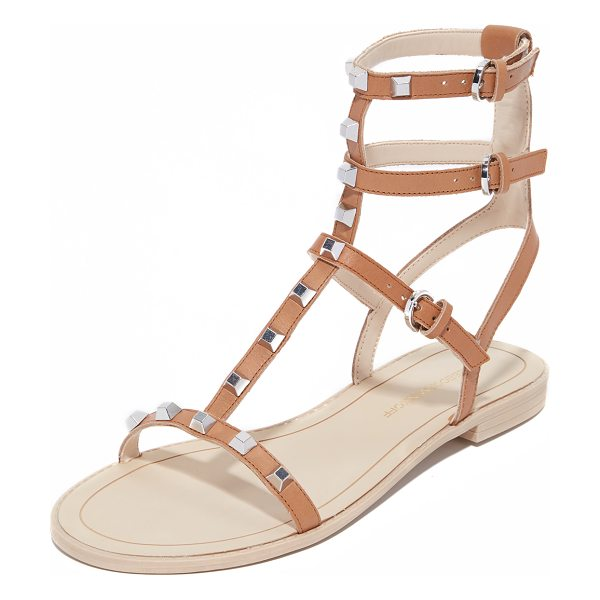 Rebecca Minkoff Georgina studded sandals in butterscotch - Metallic studs detail the slim leather straps on these...