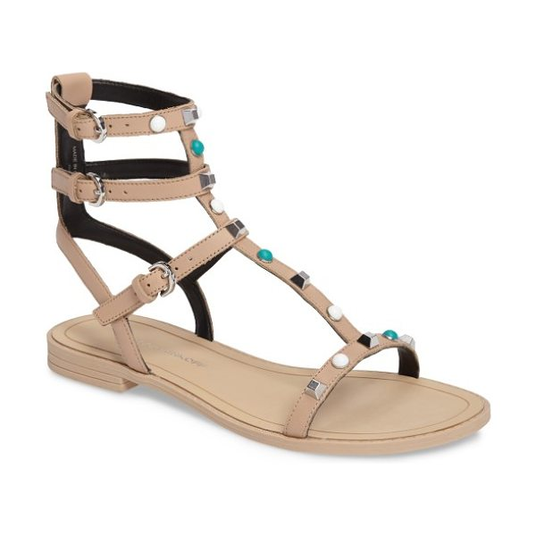 Rebecca Minkoff georgina too studded sandal in nude shiny calf - Flat-top studs and hemispheric beads brighten the...