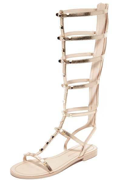 Rebecca Minkoff Giselle tall gladiator sandals in light gold - Metallic leather and metal studs give these Rebecca...