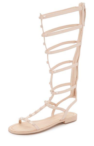 Rebecca Minkoff Giselle tall studded sandals in blush - Tonal studs detail the slim, leather straps on these...