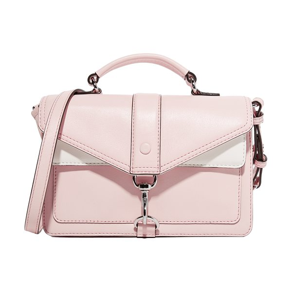 REBECCA MINKOFF hudson moto mini cross body bag in soft blush multi - A polished spring-lock fastens the flap front pocket of...